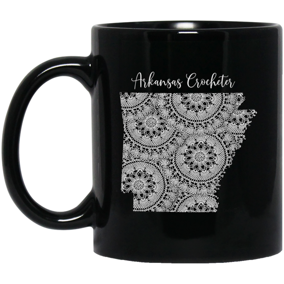 Arkansas Crocheter Black Mugs