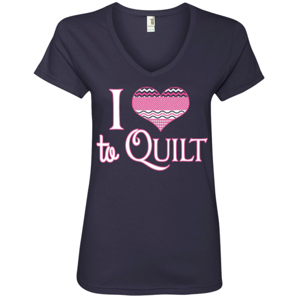 I Heart to Quilt Ladies V-neck Tee - Crafter4Life - 1
