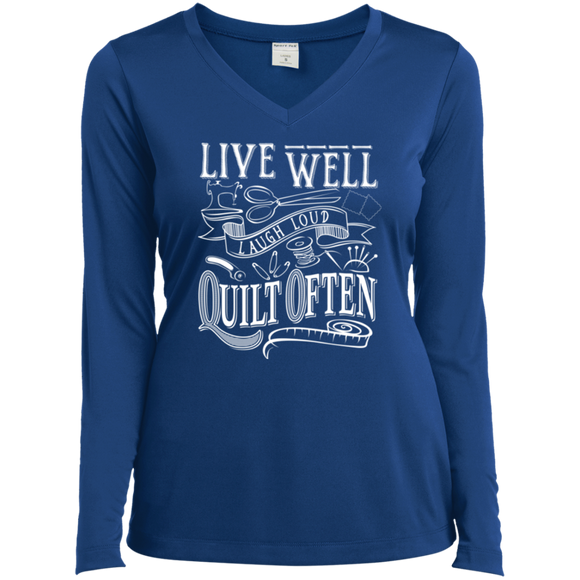 Live Well, Quilt Often Ladies LS Performance V-Neck T-Shirt