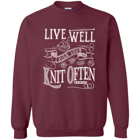 Live Well Knit Often Crewneck Pullover Sweatshirt