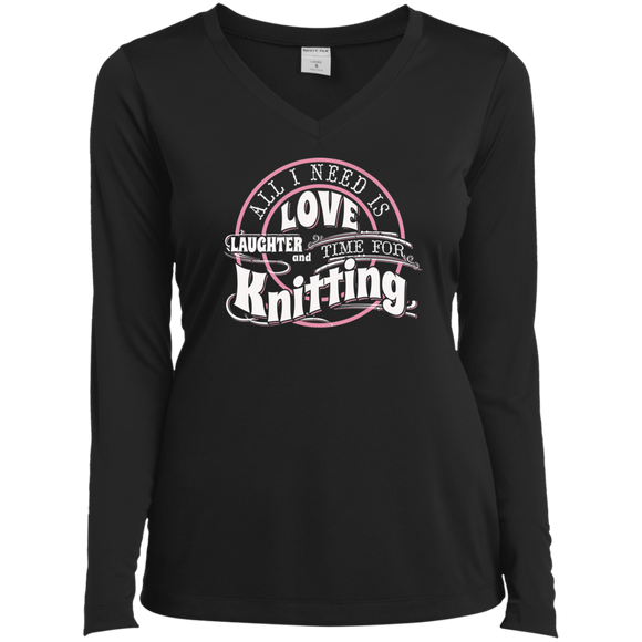 Time for Knitting Ladies LS Performance V-Neck T-Shirt