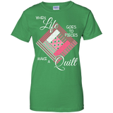 Make a Quilt (pink) Ladies Custom 100% Cotton T-Shirt - Crafter4Life - 7