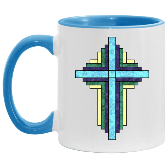 Batik Stained Glass Quilt Cross Accent Mug