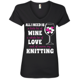 All I Need Is Wine-Love-Knitting Ladies V-neck Tee - Crafter4Life - 3