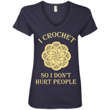 I Crochet So I Don't Hurt People Ladies V-neck Tee - Crafter4Life - 5