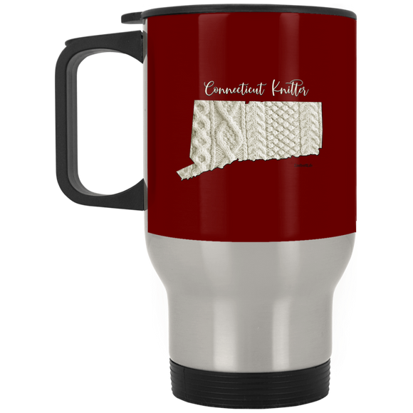 Connecticut Knitter Silver Stainless Travel Mug