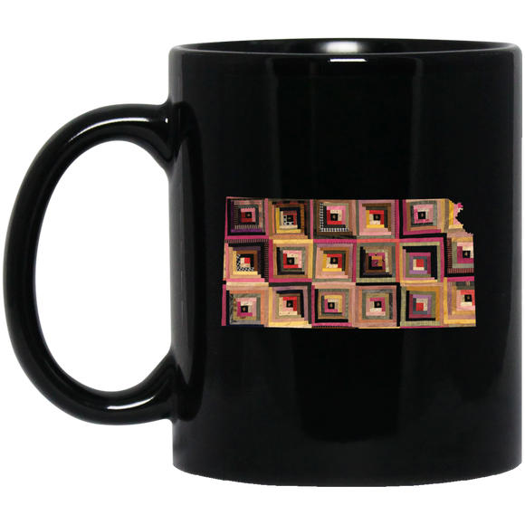 Kansas Quilter Black Mugs