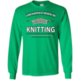 I Am Happiest When I'm Knitting Long Sleeve Ultra Cotton T-Shirt - Crafter4Life - 6