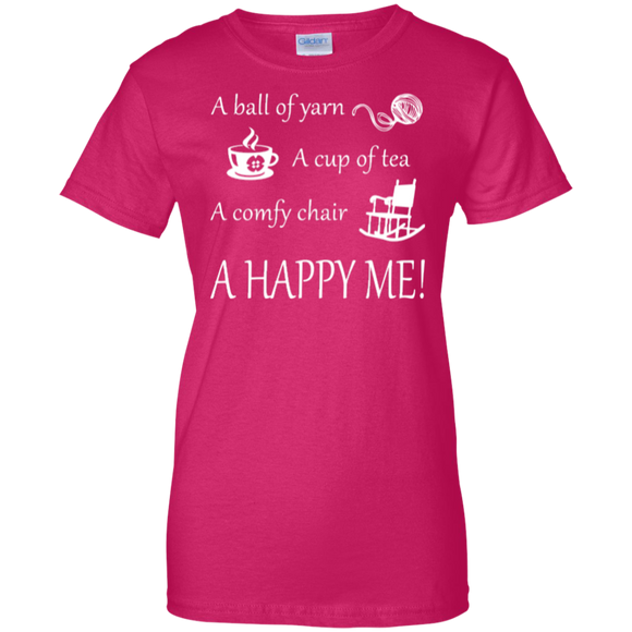 A Happy Me Ladies Custom 100% Cotton T-Shirt - Crafter4Life - 1