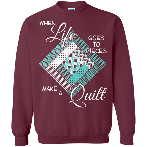 Make a Quilt (turquoise) Crewneck Sweatshirts - Crafter4Life - 1