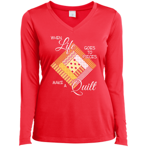 Make a Quilt (yellow) Ladies Long Sleeve V-neck Tee - Crafter4Life - 1