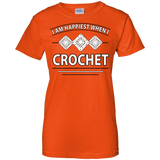 I Am Happiest When I Crochet Ladies Custom 100% Cotton T-Shirt - Crafter4Life - 13