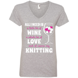 All I Need Is Wine-Love-Knitting Ladies V-neck Tee - Crafter4Life - 2