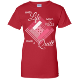 Make a Quilt (pink) Ladies Custom 100% Cotton T-Shirt - Crafter4Life - 11