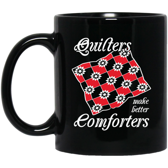 Quilters Make Better Comforters (red) Black Mugs