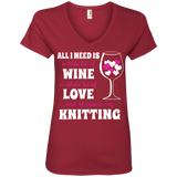 All I Need Is Wine-Love-Knitting Ladies V-neck Tee - Crafter4Life - 4