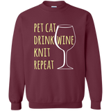 Pet Cat-Drink Wine-Knit Crewneck Pullover Sweatshirt