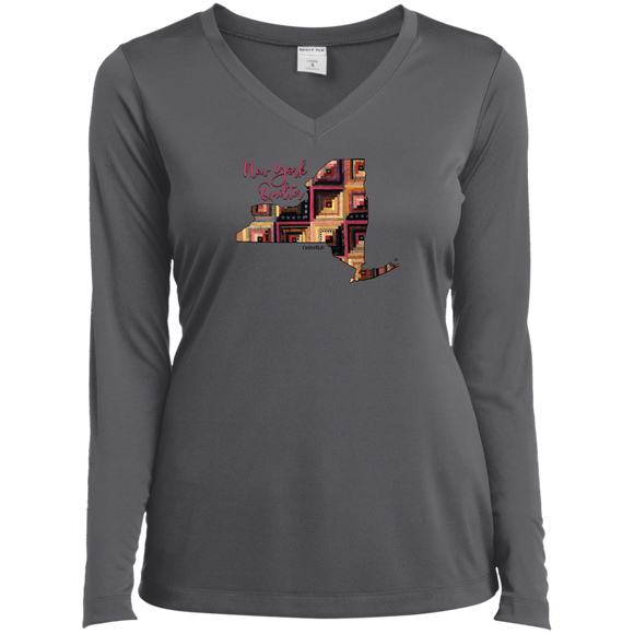New York Quilter Ladies' LS Performance V-Neck Shirt