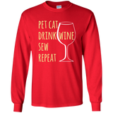 Pet Cat-Drink Wine-Sew LS Ultra Cotton T-Shirt