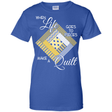 Make a Quilt (yellow) Ladies Custom 100% Cotton T-Shirt - Crafter4Life - 12