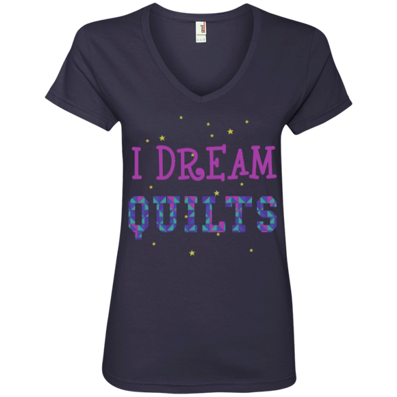 I Dream Quilts Ladies V-neck Tee - Crafter4Life - 1