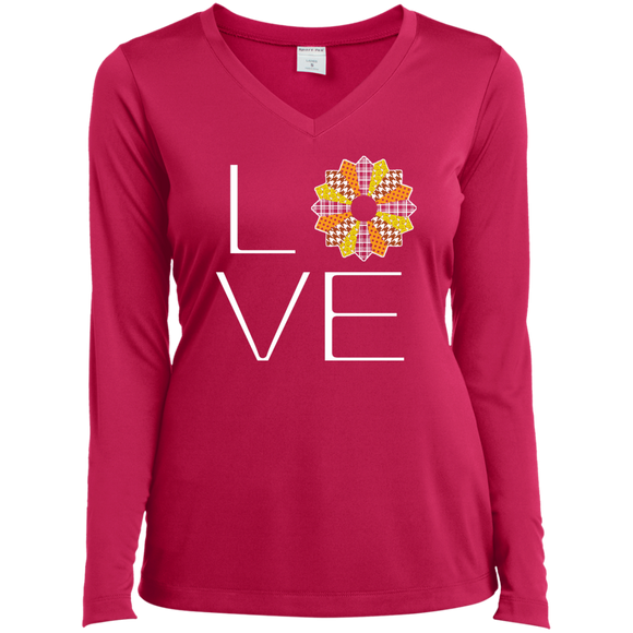 LOVE Quilting (Fall Colors) Ladies Long Sleeve V-neck Tee - Crafter4Life - 1
