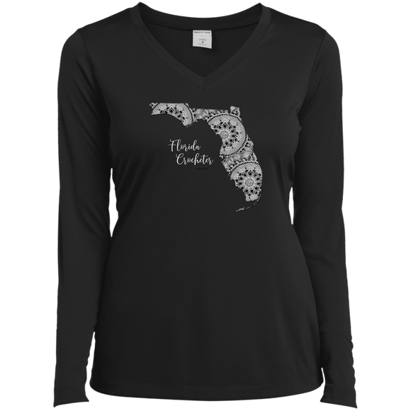 Florida Crocheter Ladies' LS Performance V-Neck Shirt