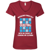 Weekend Forecast: Quilting Ladies V-Neck T-Shirt