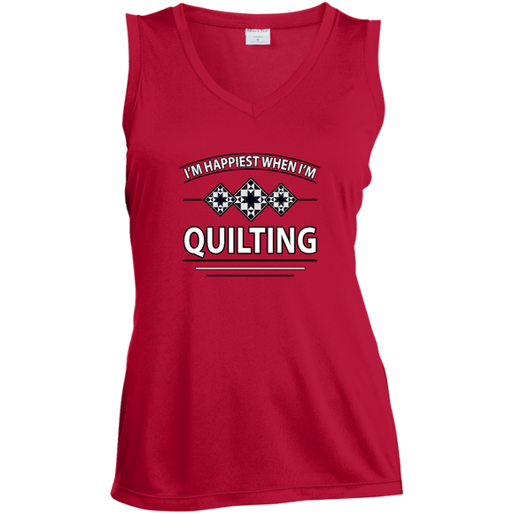 I'm Happiest When I'm Quilting Ladies Sleeveless Moisture Absorbing V-Neck