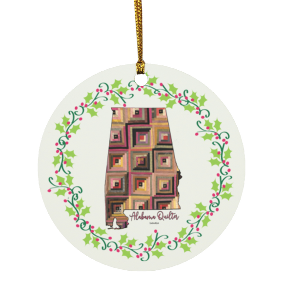 Alabama Quilter Christmas Circle Ornament