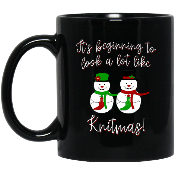Knitmas Snow Couple Black Mugs