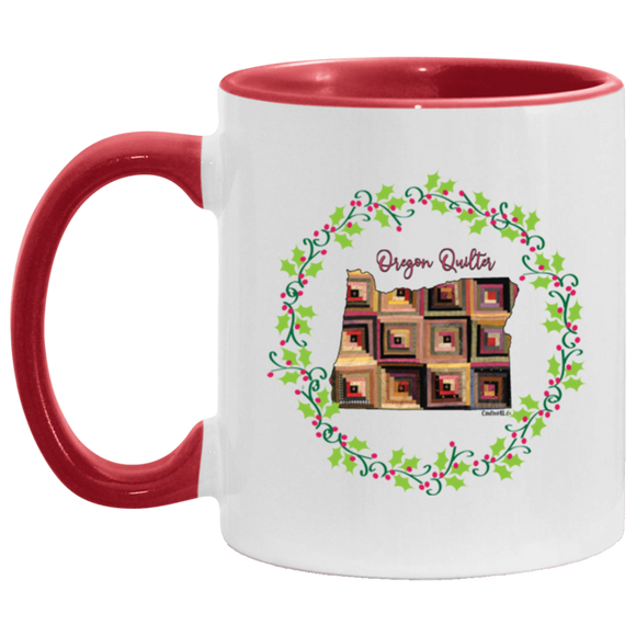 Oregon Quilter Christmas Accent Mug