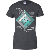 Make a Quilt (turquoise) Ladies Custom 100% Cotton T-Shirt - Crafter4Life - 5