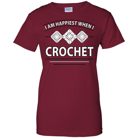 I Am Happiest When I Crochet Ladies Custom 100% Cotton T-Shirt - Crafter4Life - 1