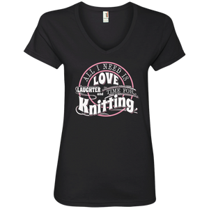 Time for Knitting Ladies V-Neck T-Shirt