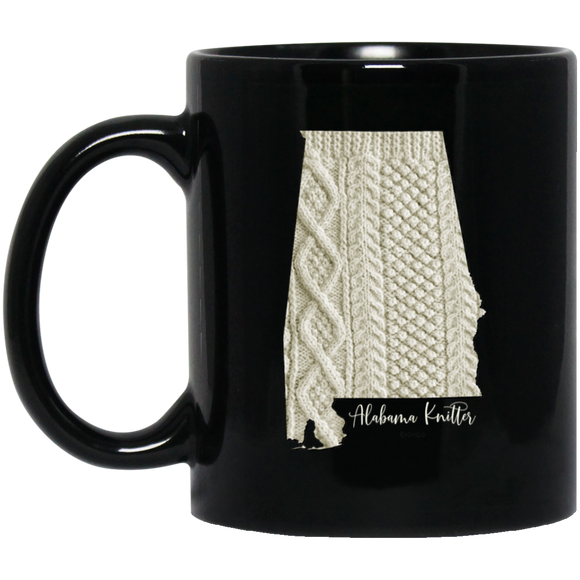 Alabama Knitter Black Mugs