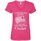 I Shop Faster than I Crochet Ladies V-Neck T-Shirt