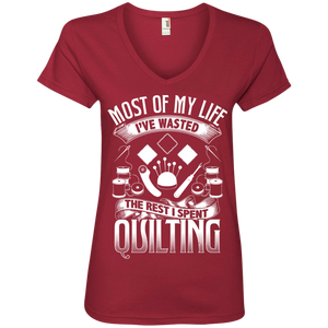 Most of My Life (Quilting) Ladies V-Neck Tee - Crafter4Life - 1