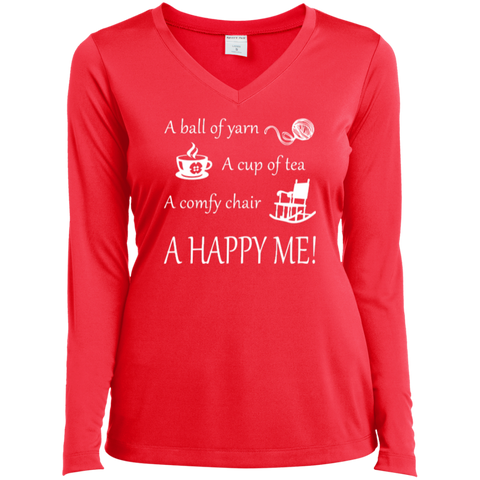 A Happy Me Ladies Long Sleeve V-neck Tee - Crafter4Life - 1