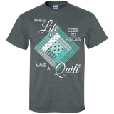 Make a Quilt (turquoise) Custom Ultra Cotton T-Shirt - Crafter4Life - 6