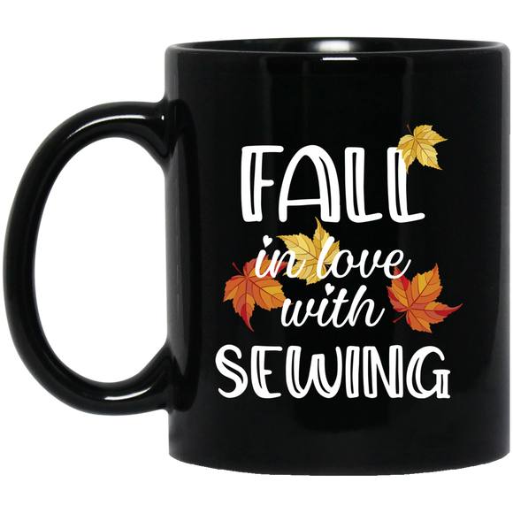 Fall in Love with Sewing Black Mugs