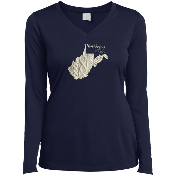 West Virginia Knitter Ladies' LS Performance V-Neck Shirt