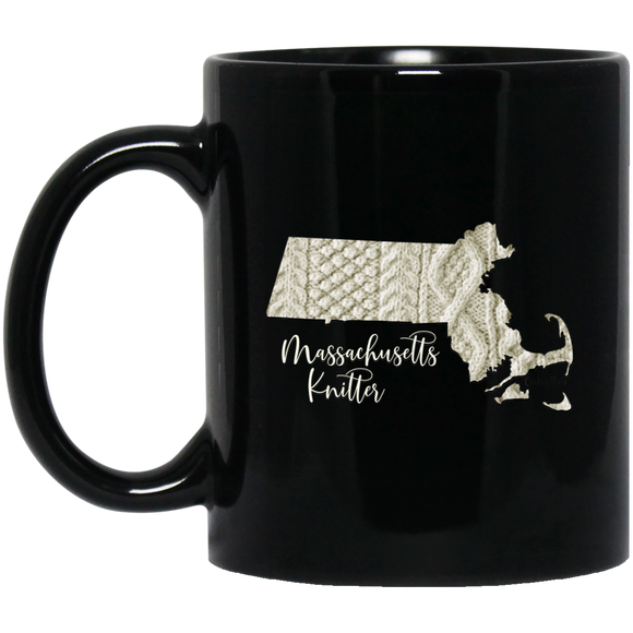 Massachussetts Knitter Black Mugs