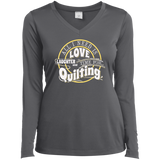 Time for Quilting Ladies LS Performance V-Neck T-Shirt