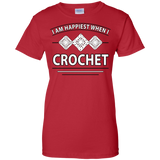 I Am Happiest When I Crochet Ladies Custom 100% Cotton T-Shirt - Crafter4Life - 10