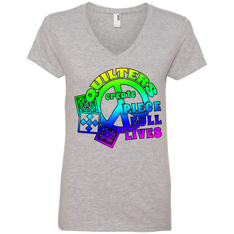 Quilters Create Piece Full Lives Ladies V-neck Tee - Crafter4Life - 1