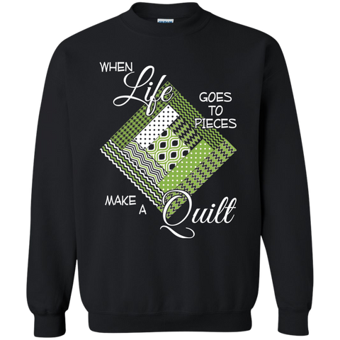 Make a Quilt (Greenery) Crewneck Pullover Sweatshirt