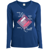 Make a Quilt (pink) Ladies Long Sleeve V-neck Tee - Crafter4Life - 7