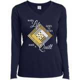 Make a Quilt (yellow) Ladies Long Sleeve V-neck Tee - Crafter4Life - 4