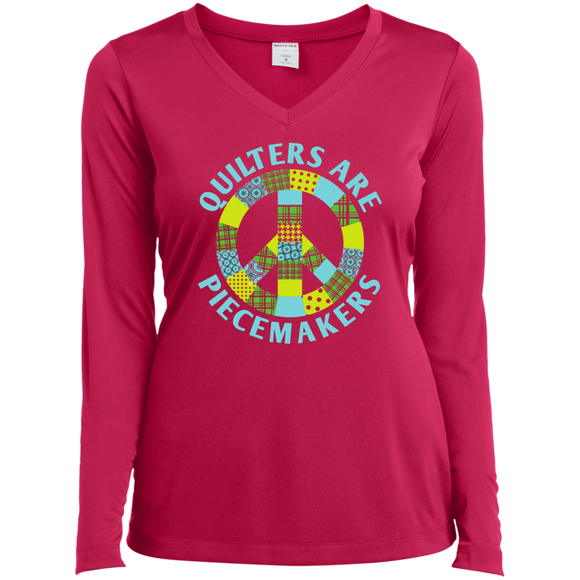 Quilters are Piecemakers Ladies Long Sleeve V-neck Tee - Crafter4Life - 1